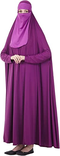 Bestgift Women's Prayer Dress Overhead Hijab Traditional Abaya with Niqab