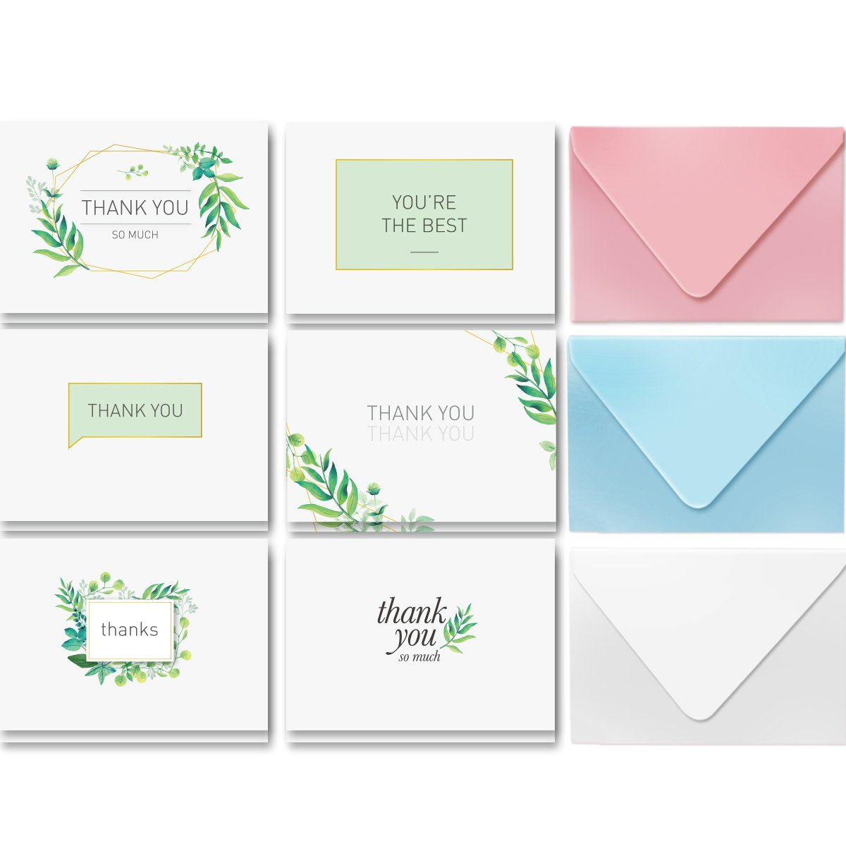 Thank You Cards-36 Assorted Boxed Pack - Elegant Floral Green & Black & White Card Designs: Bulk Note Box for Graduation, Wedding, Bridal Party, Baby Shower, Men & Women Sympathy