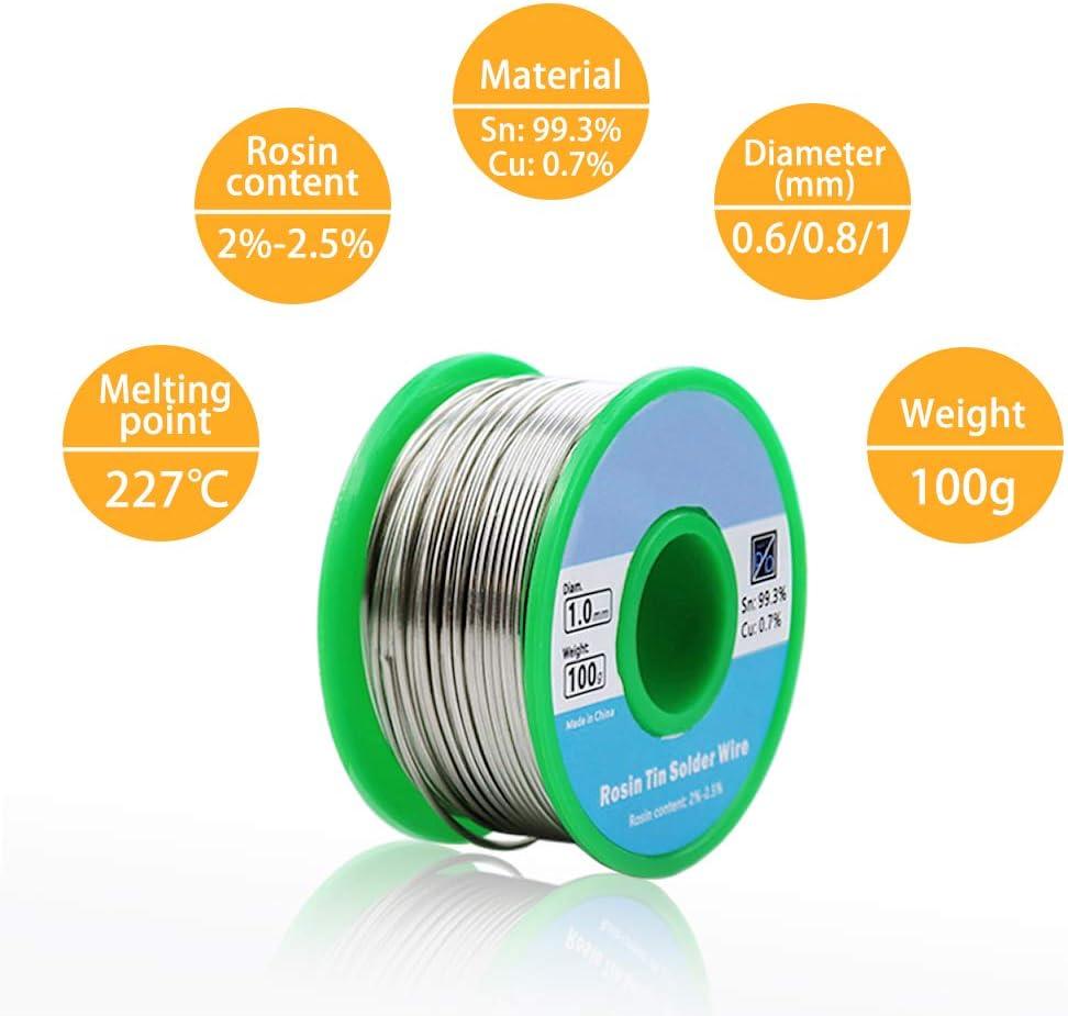 Fil d/étain pour Soudure /Étain pour Soudure Fil /à Souder Noyau de Colophane 100g 0,8mm avec Tresse /à Dessouder 2 mm pour Le Soudage /Électrique