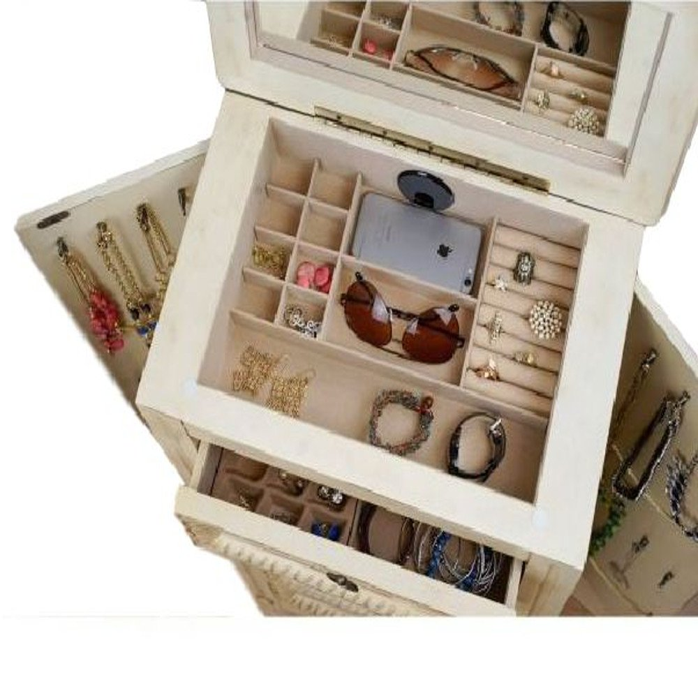 Mid Century Modern Jewelry Armoire Luxury Cabinet Drawers Swing Doors Antique Flip Top Mirror Indoor Bedroom Vanity Storage Furniture & Ebook by Easy2Find. by STS SUPPLIES LTD