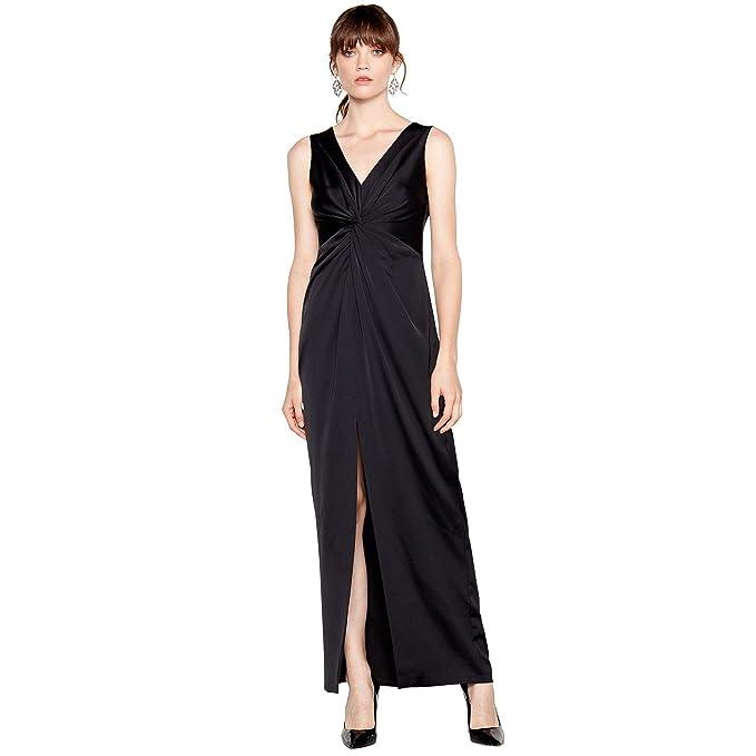 d3e65cb31ffa Image Unavailable. Image not available for. Colour: Debut Womens Black  'Celia' Satin Twist Front Maxi Dress 6