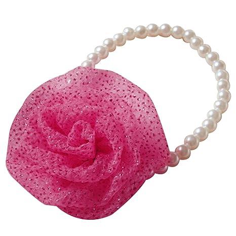 Collar para perro, gato de Steellwingsf con perlas de imitación y flores, collar y