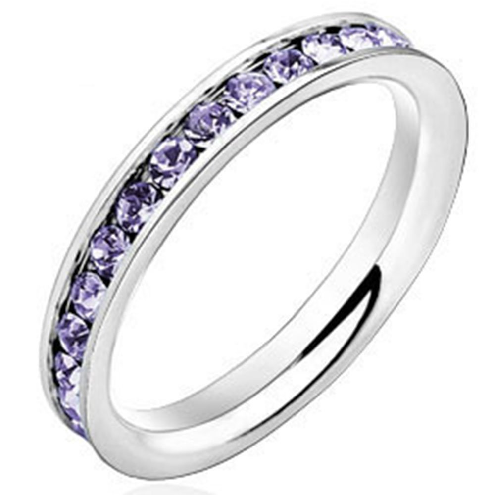 Women 3mm White Gold Stainless Steel Channel Set Purple CZ Inlay Ring Engagement Wedding Silver Band