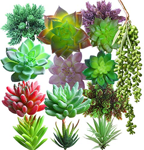 Lasimonne 14 Pcs Faux Succulent Assorted -Fake Succulent Plants,Unpotted Fake Plants for Decoration,Artificial Succulents Picks, Fake Succulent Bouquet (Faux Succulent)