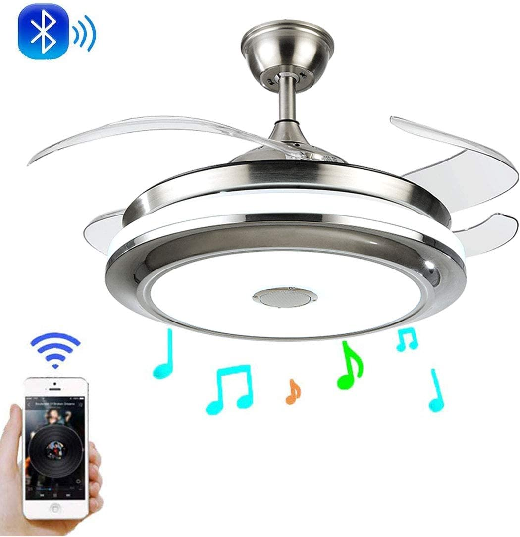 MoreChange Multi-Function Bluetooth Music Ceiling Fan with Light Remote Control,LED Retractable Blades 3 Color Changes Chandelier Fans Lighting Fixtures for Living Dining Room Bedroom 36 inch B