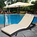 TANGKULA Outdoor Patio Chaise Lounge Chair Ergonomic Shape Handwoven Outdoor Patio Pool Furniture with Heavy Padded Non-slip Cushions Backrest Adjustable Wicker Chaise Lounger (black)
