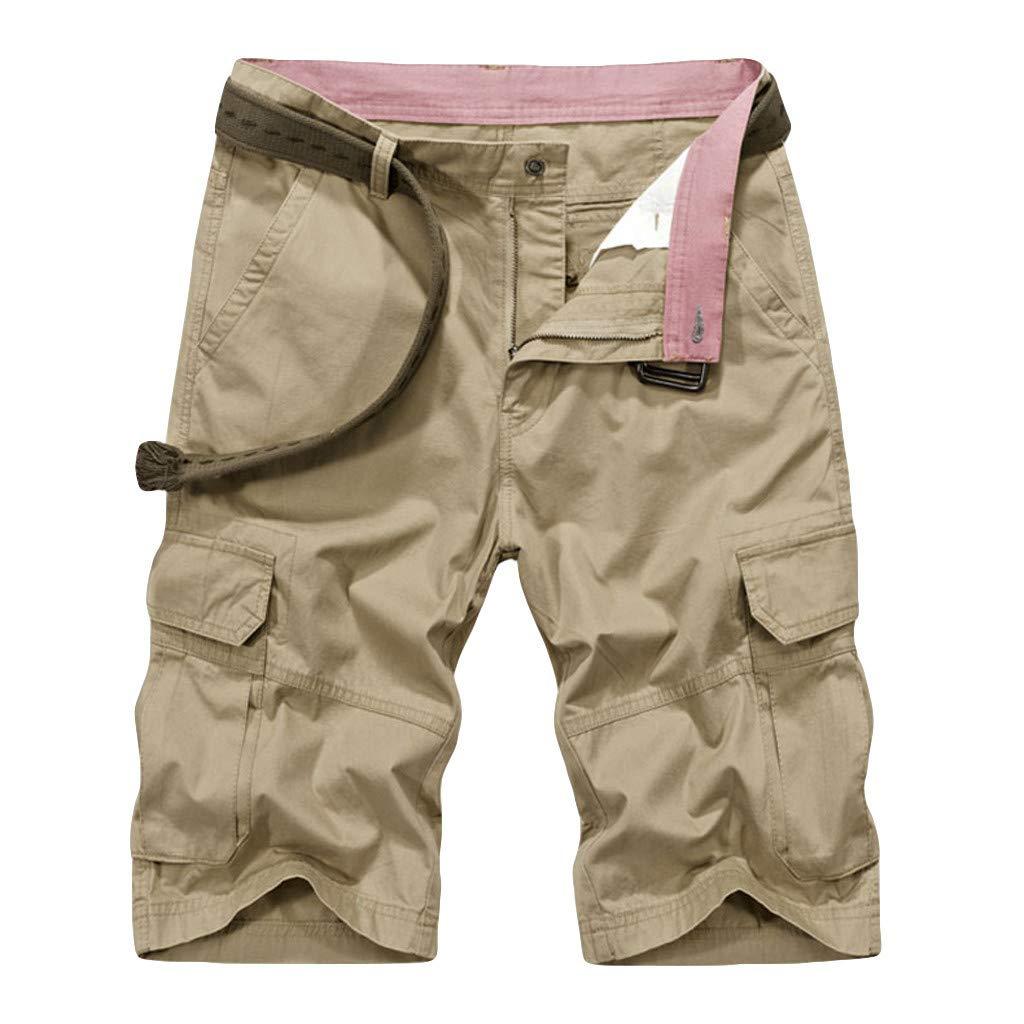 Alalaso Mens Cargo Shorts, Mens Cotton Cargo Shorts Relaxed Fit Multi-Pocket Outdoor Shorts Khaki by Alalaso