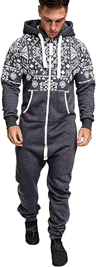 HUAZONG Pijama de una pieza para hombre, con capucha y estampado azteca, unisex
