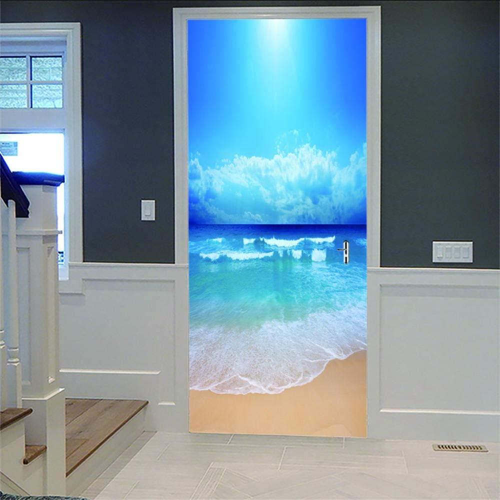 YUXAOYFAK 3D T/üraufkleber Blaues Meerwasser Wasserdicht PVC Wandaufkleber T/ürposter Fototapete Wandbild F/ür T/ür Wohnzimmer Schlafzimmer K/üche Und Bad