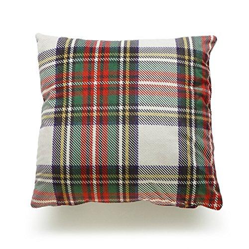 tewart Tartan Classic Gray Scottish Plaid Short Plush Decorative Holiday Cushion Case 18x18 inches (Stewart Plaid Cover)