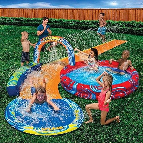Banzai Cyclone Splash Pool and Cuved Water Slide Outdoor Water Fun countless activity