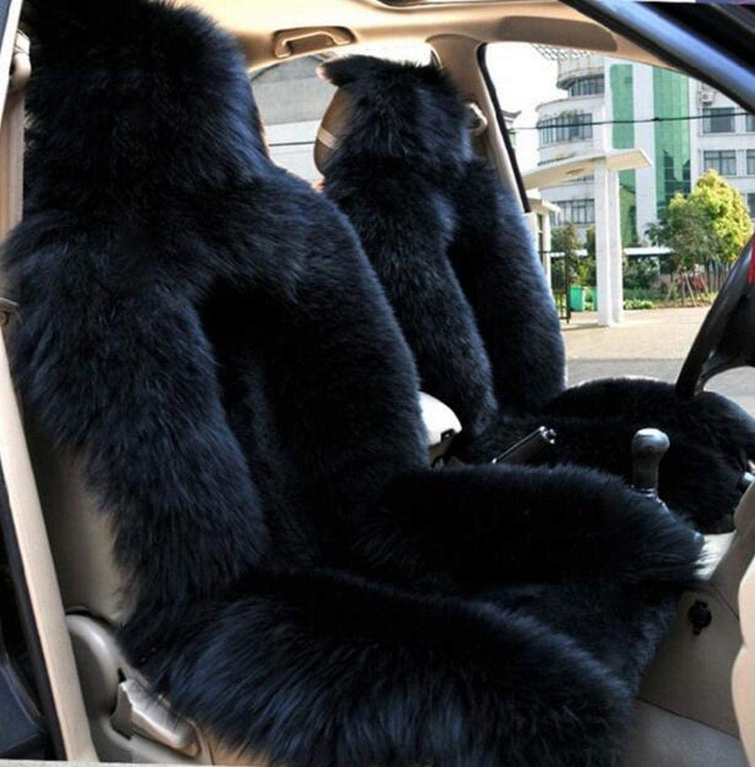 Black OKAYDA One Piece Genuine Wool Winter Warm Sheepskin Car Seat Cover High Low Wool Luxury Real Fur Car Seat Covers