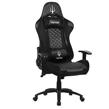 triton p050-x3-bb Gaming Chair-sedia, Piel sintética, Negro/Negro, 70 x 65 x 125 cm: Amazon.es: Hogar