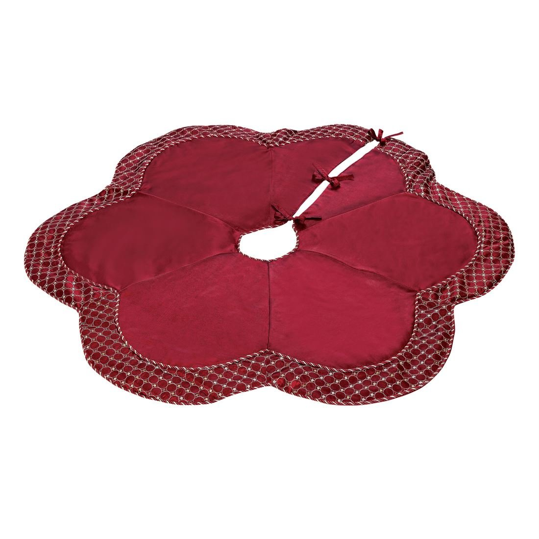 BrylaneHome Scallop Edge Border Christmas Tree Skirt (Red,0)