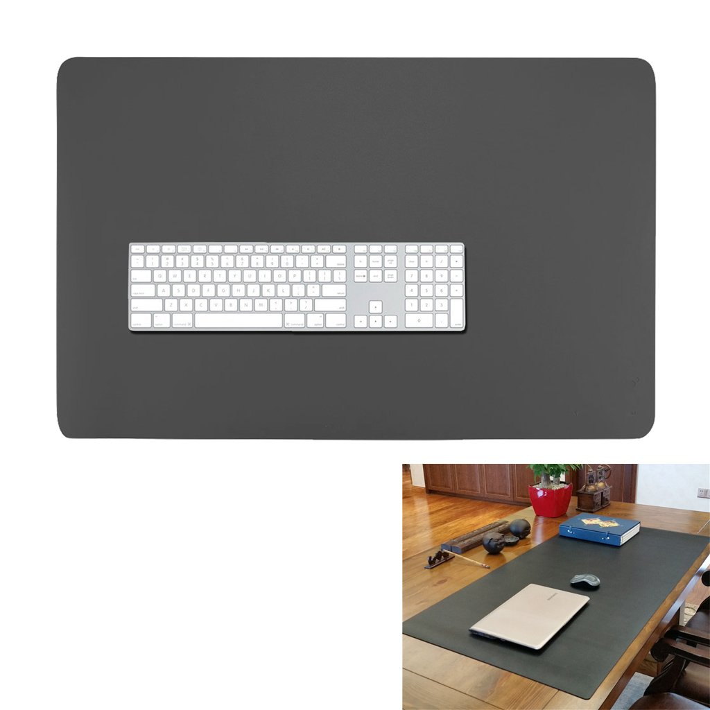 27'' 17'' Extended Gaming Mouse Pad- Large Waterproof Desk Mat- PU Leather Computer Mat for Office and Home (Black)
