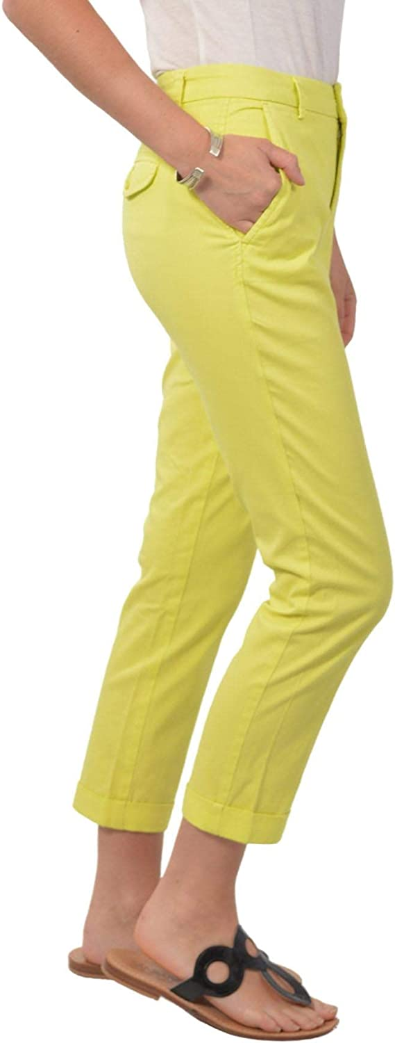 White Label United Colour of Benetton Womens Cropped Summer Colour Capri Trousers Lemon
