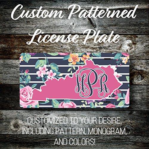Custom Kentucky Monogrammed License Plate (LP261KY) Preppy Patterned Vinyl - TRIPLE UV COATED .025