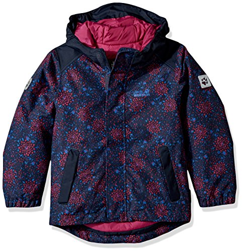 Price comparison product image Jack Wolfskin Girl's Kajak Falls Printed Jacket, Midnight Blue All Over, Size 128 (7-8 Years)