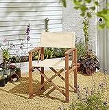 NEW Kingsbury Eucalyptus Wood & Fabric Folding Director's Chair - Cream