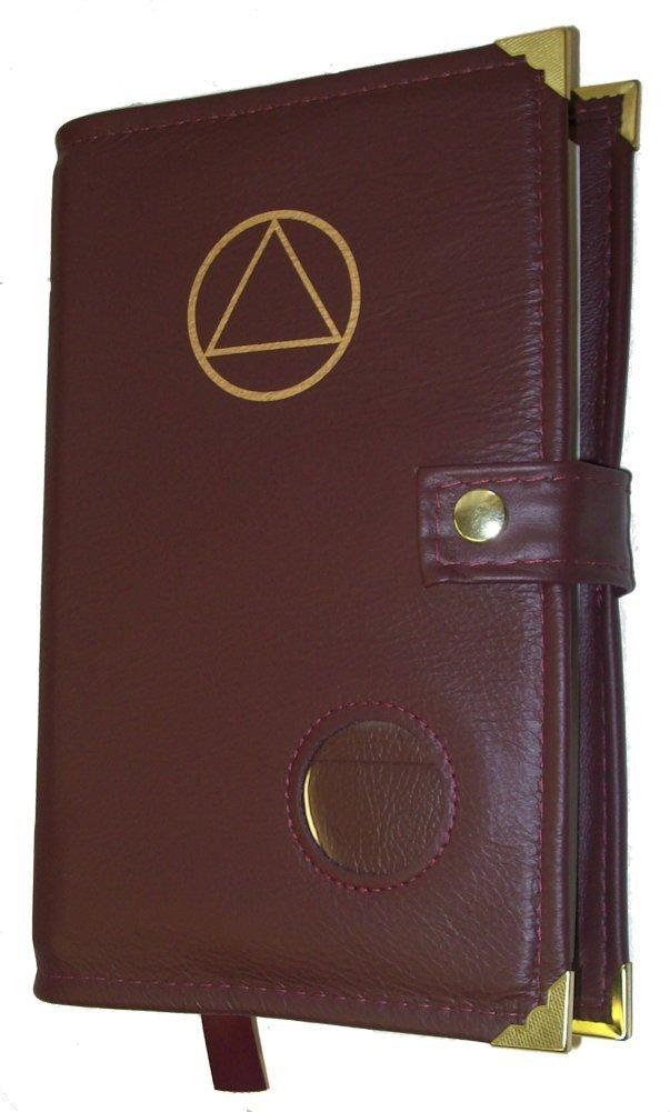 Burgundy Leather Alcoholics Anonymous Big Book Cover AA Symbol and Medallion Holder by Culver Enterprises