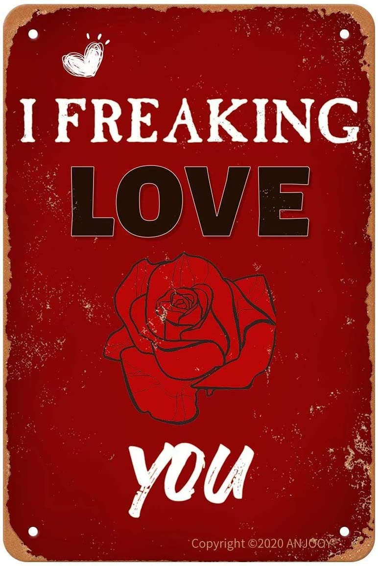"ANJOOY Tin Signs Vintage - I Freaking Love You - Retro Plaque Poster for Bedroom Cafe Home Bar Pub Coffee Beer Kitchen Bathroom Door Garden Wall Decor Art 8""x12"""