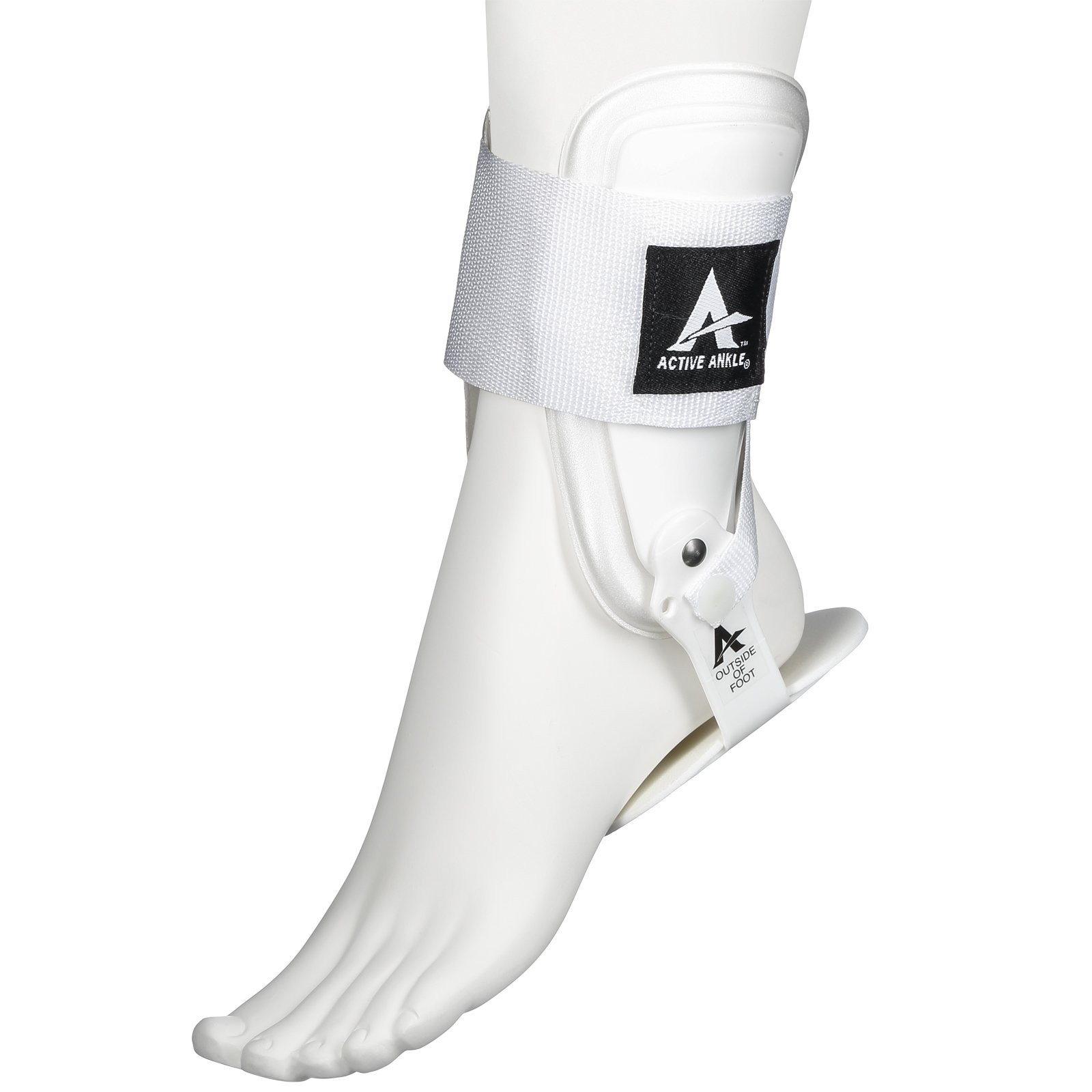 Active Ankle T2 Ankle Brace, Rigid Ankle Stabilizer for Protection & Sprain Support for Volleyball, Cheerleading, Ankle Braces to Wear Over Compression Socks or Sleeves for Stability, White, Small by Cramer (Image #1)