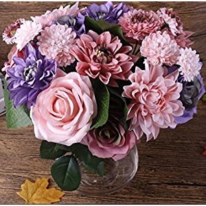 URTop One Bunch Of Silk Pink &Purple Roses Artificial Flower Wedding Bouquet Dahlias Daisy Flowers Vivid Fake Leaf Wedding Fflower Bridal Bouquets Decoration 7
