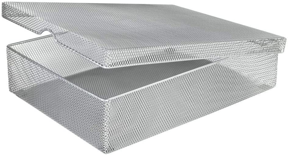 YBM HOME Silver Hinged Mesh Pencil Box Holder and Desktop Organizer for Office, Small Metal Box Storage Box with Lid for Markers, Pens, Erasers, School and Office Supplies - 1-Unit, Medium 2376