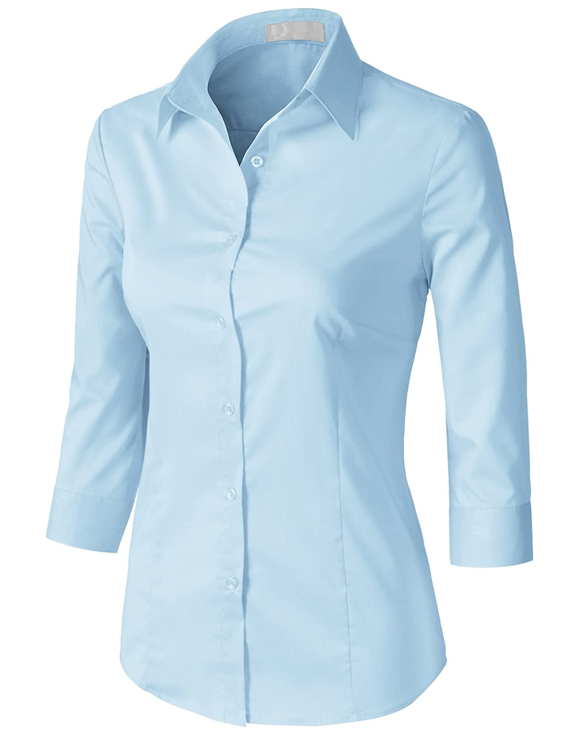 35bfb7ee45b Amazon.com  H2H Women Casual Slim Fit Button Down Dress Shirts 3 4 Sleeve  Office Blouse Top Aqua  Clothing