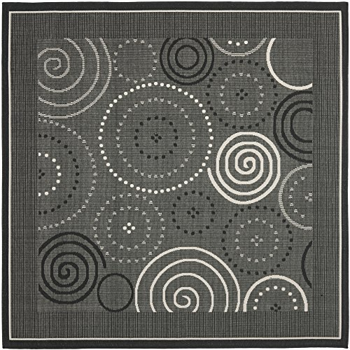Safavieh Courtyard Collection CY1906-3908 Black and Sand Indoor/ Outdoor Square Area Rug (6'7