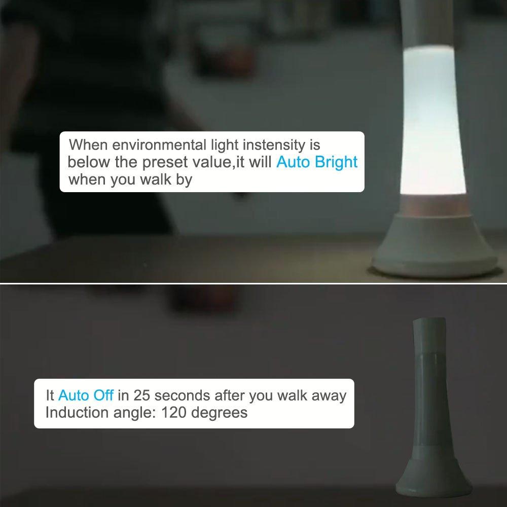 Smart Night Light - Portable Flashlight Multifunctional Bedside Lamp with PIR Smart Induction and Light Sensor,Atmosphere Light Camping Light RGB Creative Children Desk Table Lamp Moving LED Light Lamp,USB Rechargeable,Portable,Children\'s