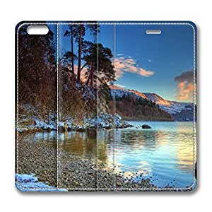 iPhone 6 Plus Case, Fashion Protective PU Leather Flip Case [Stand Feature] Cover Lake Winter for New Apple iPhone 6(5.5 inch) Plus