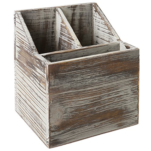 Rustic Torched Wood Tabletop Flatware, Utensil Caddy, Cutlery Organizer and Napkin Holder, 3 Compartment by MyGift (Image #2)