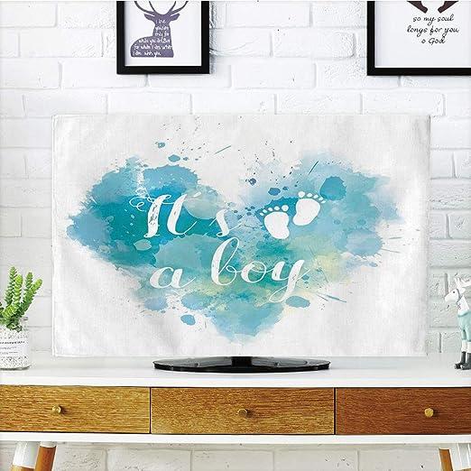iprint LCD TV Cubierta de Polvo, jardín, estilizado Dibujos Animados Lindo Paisaje con Flores pájaros y Abstracto compatibles, Colorido, diseño de impresión 3D Compatible 32