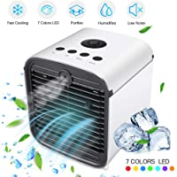 Mini Air Cooler, Portable Air Conditioner 3 in 1 Personal Space Cooling Fans, Humidifier & Purifier with 3 Gear Speeds & 7 Colors LED Light, Perfect for Sleep, Working, Exercise, Camping and Traveling