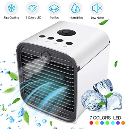Purifier 3 in 1 Evaporative Cooler with 3 Speed Travel Mini AC USB Cooling Desktop Fan for Bedroom Office BASEIN 2019 Latest Personal Air Cooler Fan Portable Air Conditioner Humidifier