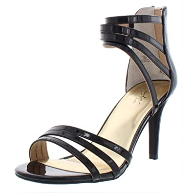 e710ec35eb27 Thalia Sodi Womens Karlee Patent Leather Strappy Heels Black 9 Medium (B