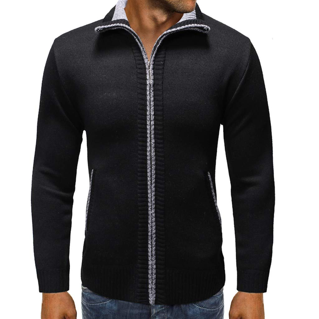 Beppter Men's Casual Slim Full Zip Cardigan Sweaters Relaxed Fit Jacket with Pockets(Black,US Size M = Tag L) by Beppter