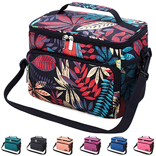 Leakproof Reusable Insulated Cooler Lunch Bag - Office Work Picnic Hiking Beach Lunch Box Organizer with Adjustable Shoulder Strap for Women,Men-Typical Black Leaf (Male Hiking Bag)