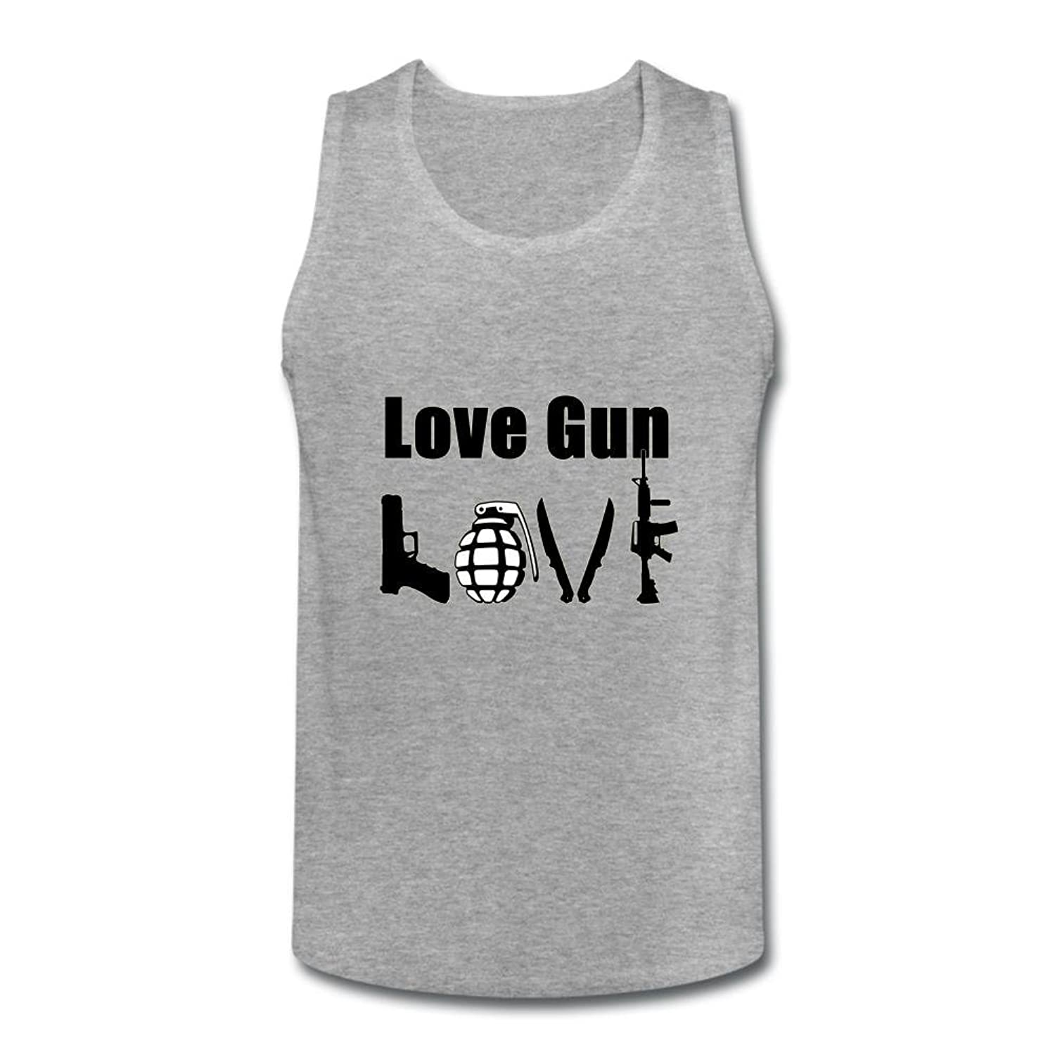 OULIN Men's Love Gun Art Vest White XXXL