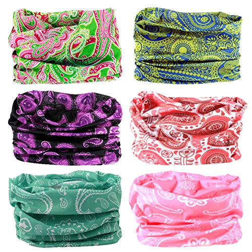 LOTUYACY Outdoor Wide Headband,Elastic Seamless Scarf UV Resistence Sport Headwear for Men&Women,Workout,Yoga,Multi Function,Constructed with High Performance Moisture Wicking Microfiber (Paisley 2)