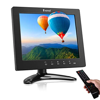 Eyoyo Portable HDMI Monitor 8 inch Small TV Screen, 1024x768 LCD IPS  Display Kitchen TV Camper TV w/TV/HDMI/VGA/USB/AV-BNC Input Built-in  Loudspeakers