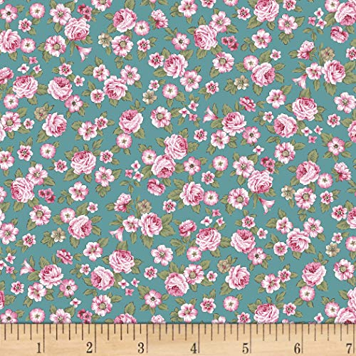 (Stof Fabrics of Denmark Juliet Roses Small Roses Turquoise Fabric by the Yard)