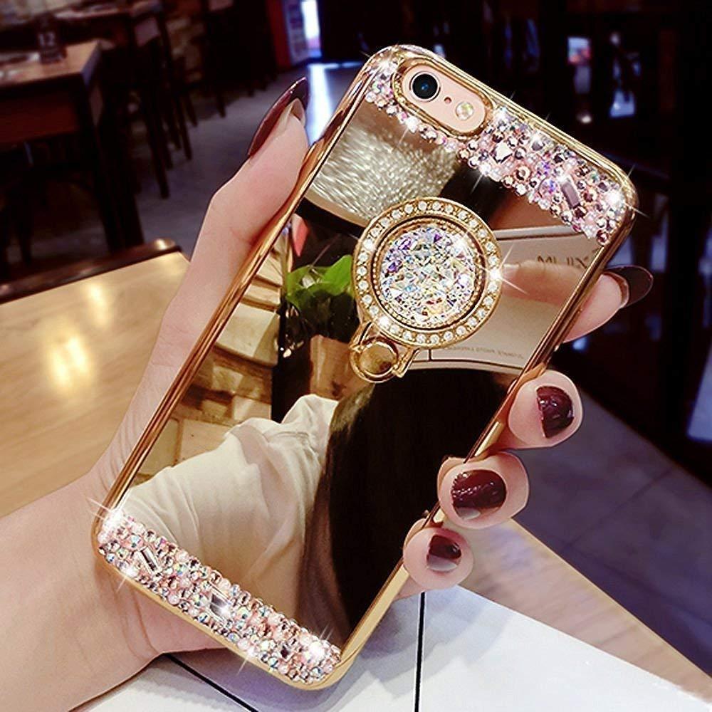 Yobby Miroir Coque pour Samsung Galaxy J6 Plus/J6 Prime,Or Rose Coque Bague Anneau Kickstand Glitter Diamant Luxe Bling Cristal Strass Mince Fine Caoutchouc Bumper House de Protection
