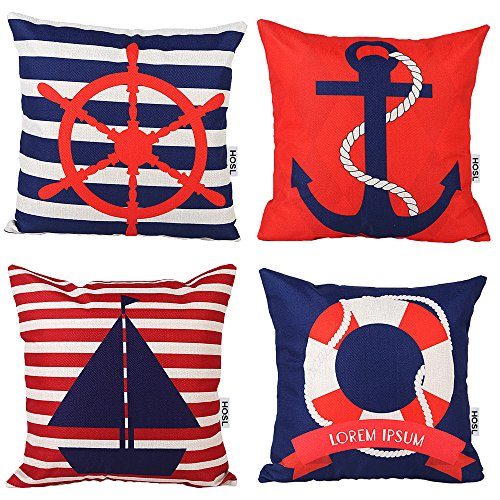 hoslr-ocean-park-theme-decorative-pillow-cover-case-18-x-18-pack-of-4-anchor-lifebuoy-sailboat-rudde