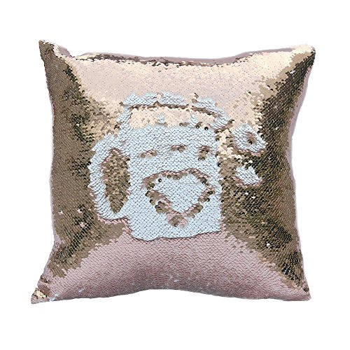 Gold Floor Pillow (Freestyle Reversible Color Change Sequin Throw Pillow Cases Covers in Two-Tone, Champagne Gold and White, 16x16, Creative Decorations on Sofas/ Armchairs/ Beds/ Floors/ Cars)