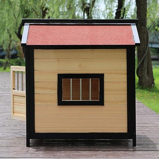 Perreras Casa para mascotas Casa nido para mascotas al aire libre Casa de perro de madera maciza resistente a la lluvia Casa para mascotas con cama y ...