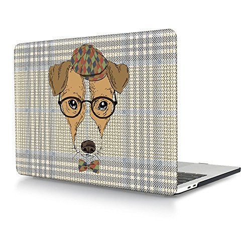 HRH Cartoon Dog wear glasses Design Laptop Body Shell Protective Hard Case for New Macbook Pro 13 inch with Touch bar and Touch ID A1706 / With out Touch bar - Glasses Wear That Cartoons