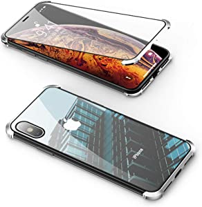 Compatible with iPhone Xs Max Frameless Case, Jonwelsy 360 Degree Front and Back Transparent Tempered Glass Cover, Strong Magnetic Adsorption Metal Bumper for iPhone Xs Max (6.5 inch) (Silver)