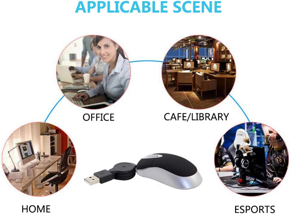 Mini USB Retractable Mouse 1600DPI Compact Mouse Great for Travel /& Laptop Tablet PC Small Tiny Travel Optical Mouse USB Wired Mouse with Retractable Cable 2.3-Foot Black